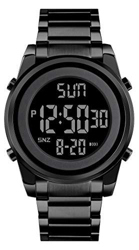 Uhren Herren Armbanduhr Digital Edelstahl Band Elegant Chronograph Analog Quarz Uhr für Männer Kalender Datum LED Wasserdicht Business Mode Lässige