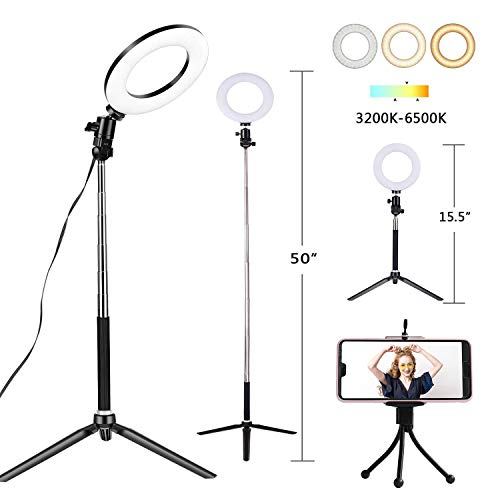 6' Selfie Ring Light with Tripod Stand & Cell Phone Holder for Live Stream Makeup, HomRealm Mini Led Camera Ring Light Table Lamp Fill Light for YouTube Video Photography Shooting Vlog USB Plug