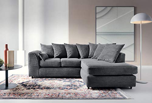 Abakus Direct Porto Jumbo Cord Corner Sofa, Settee, Full Chenille Cord Fabric in Grey[Jumbo Cord Grey Right]