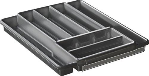 Rotho Domino Besteckkasten mit 7 Fächern, Kunststoff (PP) BPA-frei, anthrazit, (39,7 x 34,1 x 5,1 cm)