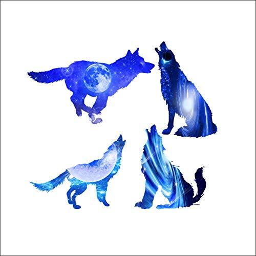 Wandaufkleber 3D Planet Kreative Blue Galaxy Wolf Wandtattoos Abnehmbare Aufkleber Wohnzimmer Decor Home Art Kinder Schlafzimmer PVC Poster Wasserdicht Verschönern