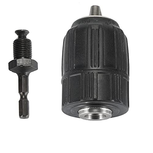 """KuangBBBTools Keyless 1/2"""" Drill Chuck Chuck Coversion with 1/2-20 UNF Mount 1/4"""" Hex Shank Lock Key for impact Driver or Power Drill"""