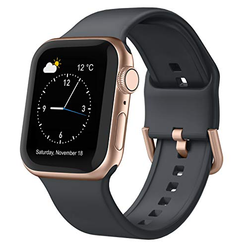 Adepoy Compatible with Apple Watch Bands 40mm 38mm, Soft Silicone Sport Wristbands Replacement Strap with Classic Clasp for iWatch Series SE 6 5 4 3 2 1 for Women Men, Deep Grey 38/40mm
