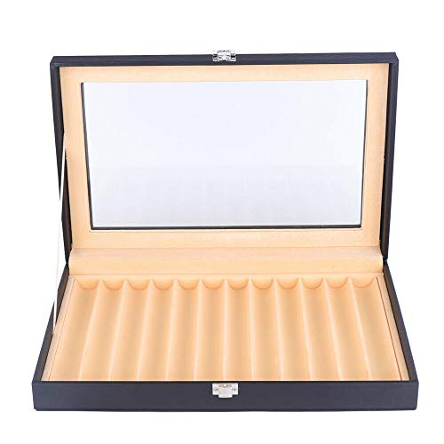 Pen Display Box 12 Piece Black Leather Flannel Pen Organizer Box,Glass Pen Display Case Storage Box with Lid,Top Glass Window Pen Collection Display Case