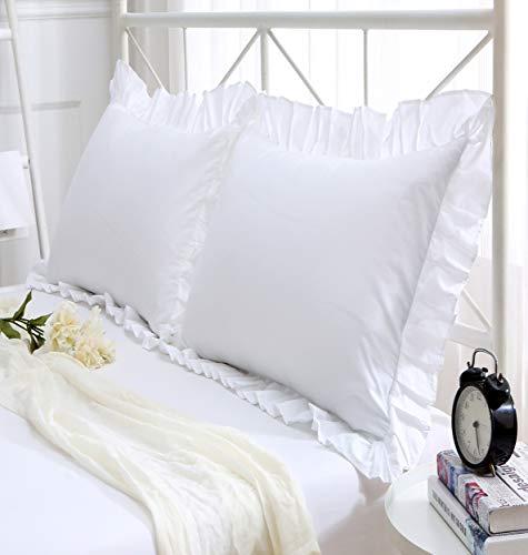 Juego de 2 fundas de cojín con volante de algodón blanco de 45,7 x 45,7 cm