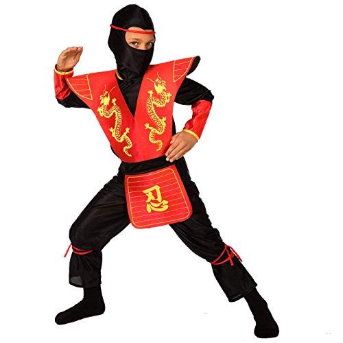 Kids Ninja Costume Childrens Red Kung Fu Dress Up Outfit - Large
