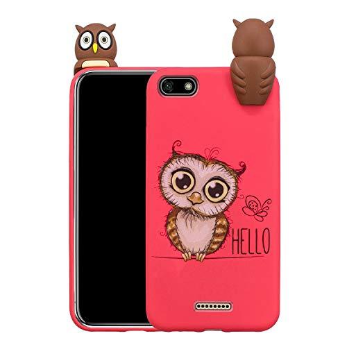 3D Silikon Hülle für Xiaomi Redmi 6A, Obesky Ultra Dünn Weich TPU Stoßfest Schutzhülle mit Kreative Karikatur Tier Muster Bumper für Xiaomi Redmi 6A, Niedlich Serie-Eule