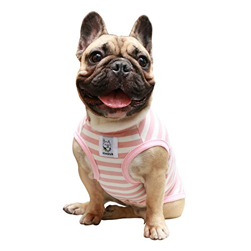 iChoue Dog Clothes Vest Tee Shirt for French Bulldog Pug Boston Terrier Frenchie-Stripes of Pink and White-L