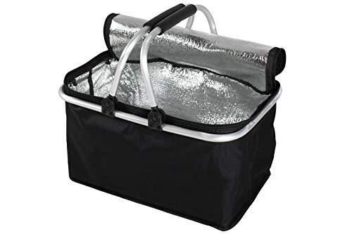 Faltbarer Einkaufskorb faltbar - Tragetasche Klappkorb Tragekorb klappbar Picknickkorb mit Deckel schwarz (Schwarz mit Isolationsschicht (1 Stuck))