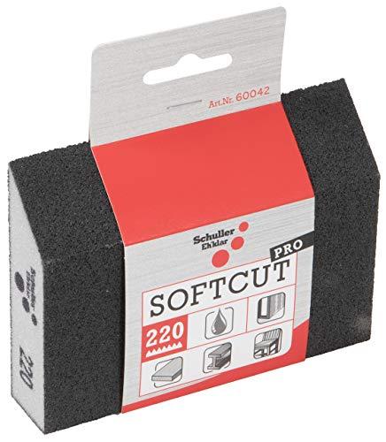 Schuller Eh'klar Esponja de lijado, 125 mm x 90 mm/65 mm x 25 mm, con 1 lado longitudinal biselado de carburo de silicio grano 220.