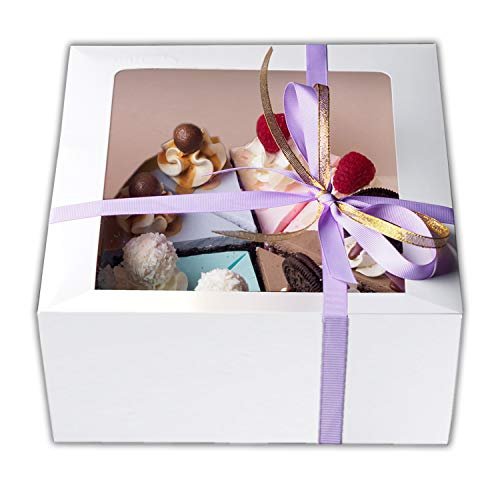 Cake Boxes 12 x 12 x 5, Bakery Box Has a Clear Window, Cake Supplies, 10 Pack.