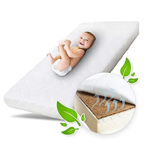 Ehrenkind® Babymatratze Kokos | Babymatratze 60x120cm | Matratze 120x60 mit hochwertigem Schaum, Kokosplatte und Hygienebezug