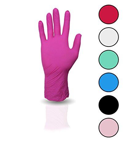 100 Stück Nitril Einweghandschuhe, Einmalhandschuhe puderfreie und unsterile Kochhandschuhe Tättowierhandschuhe Tattoo Handschuhe (magenta, S)