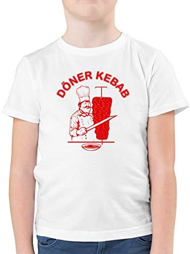 Karneval & Fasching Kinder - Original Döner Kebab Logo - 164 (14/15 Jahre) - Weiß - döner Kebab Shirt 164 - F130K - Kinder Tshirts und T-Shirt für Jungen