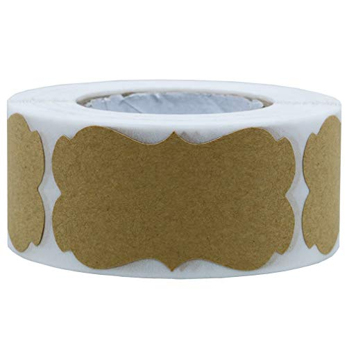 Rollo de 300pcs Pegatinas Etiqueta Adhesiva Pegatina Kraft, redondas, Labels Roll para Sello Scrapbooking Regalo Bolsa Recuerdo Boda Fiesta Aniversario Cumpleaños