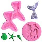 SourceTon - Moldes de silicona para fondant, diseño de estrella de mar, hipocampo, 4 unidades