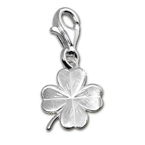 SilberDream FC505 Charm per braccialetto, collana e orecchino a forma di quadrifoglio, in argento Sterling 925 opaco