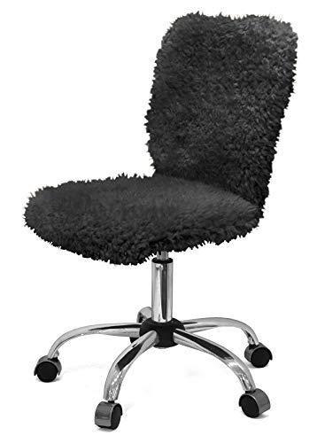 Urban Shop Faux Fur Task Chair, Black, One Size
