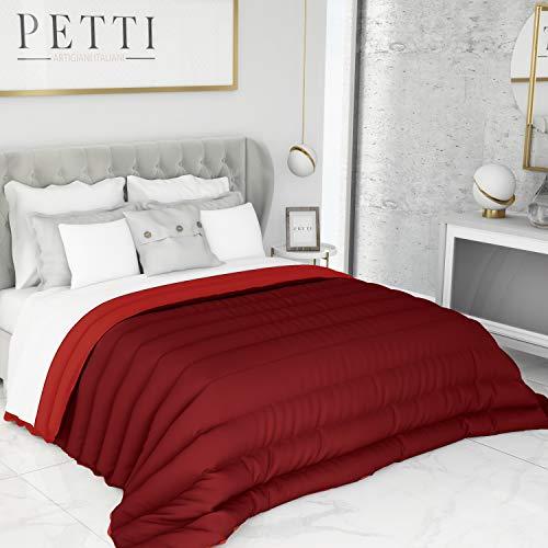 PETTI Artigiani Italiani Trapunta Una Piazza Maxi Letto Singolo 1P Invernale, Microfibra, Bordeaux/Rosso, (170x260 cm)