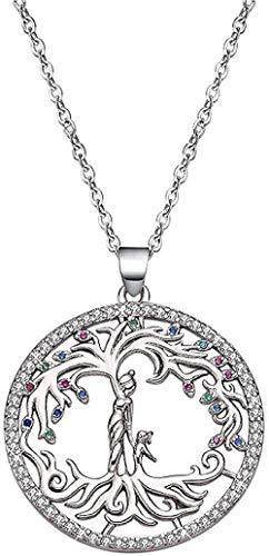 Yiffshunl Collar Creativo Hipoalergénico Árbol de la Vida Collar Chapado en Cobre Color Platino Colgante de Diamantes Moda Boutique para Mujeres Hombres Regalos