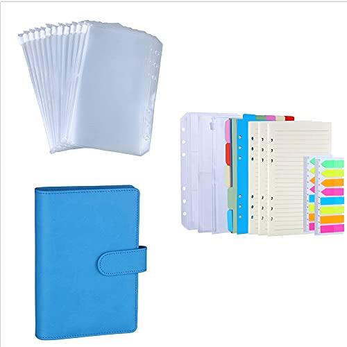 Antner 3 Pack A6 Refill Paper 6 Holes Refills Accessories Bundle   12 Pieces A6 6-Holes Binder Pockets Bundle   (Sky Blue) A6 6-Ring Binder