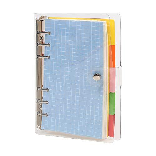 VEYLIN 6穴 リング システム手帳カバー リングクリアソフトPVCノートブックカバー 透明なノート日記カバー 可愛い スナップボタン留め ルーズリーフフォルダー 学校、家庭、オフィス向け (A5)
