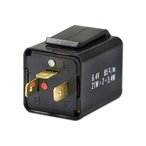 Blinkrelais elektr. 3-pol, 6V, 10-21W x 2 + 3, 4W (B=gesch. Plus (49) L=Signal (49a), E=Masse (31) /Stück