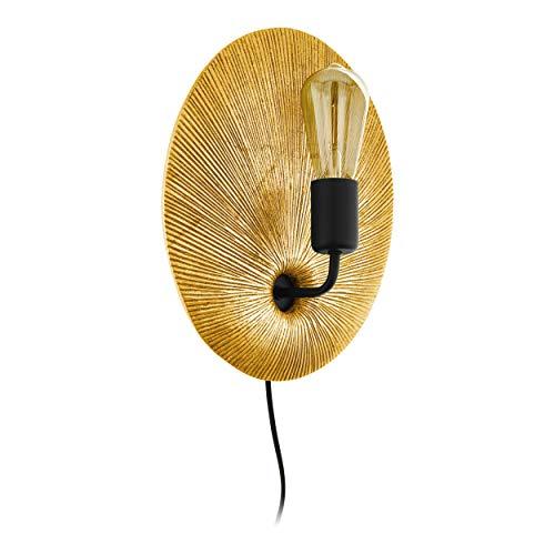 EGLO Wandlampe Gascueria, 1 flammige Wandleuchte Vintage, Orientalisch, Wandleuchte innen aus Stahl und Kunststoff, Wohnzimmerlampe, Flurlampe in gold, schwarz, Wandleuchte mit Schalter, E27 Fassung