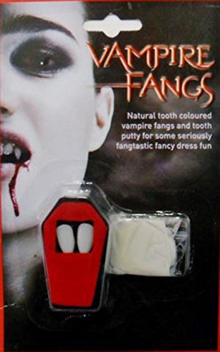 Vampier Dracula Caps Fangs witte tanden Fancy jurk Halloween Putty lijm (WA2242)