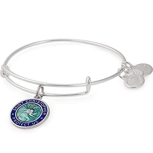 Alex and Ani Women's Color Infusion St. Christopher Bangle Bracelet, Shiny Silver