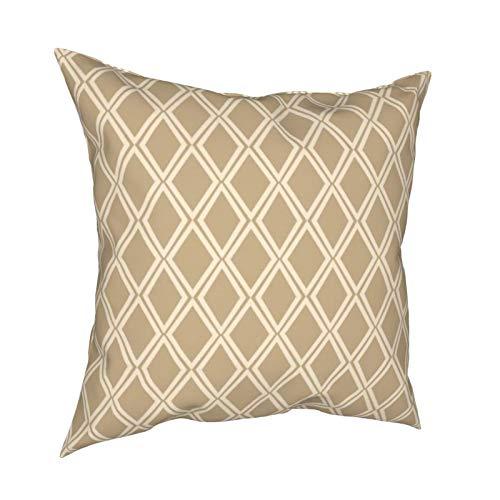 Uliykon Chic Camel Off White Diamond Geométrico Patrón Lumbar Decorativo Fundas de cojín Blancas Fundas de almohada para sofá dormitorio coche con cremallera invisible 45,7 x 45,7 cm