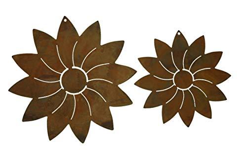 Rostikal | Rost Deko Blume Modern zum hängen | Dekoration Edelrost Garten Metall | 2er Set