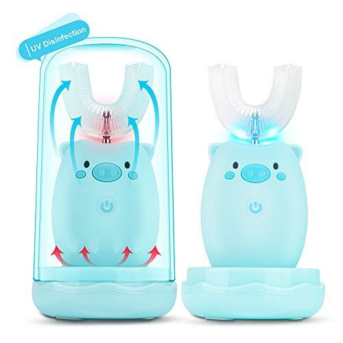 Automatische Kinderzahnbürste 360 ° Ultraschall-Zahnbürste für Kinder zahnbürste elektrisch, geräuscharme intelligente elektrische U-förmige Kinder Ultraschall-Zahnbürste für Kinder USB,IPX7