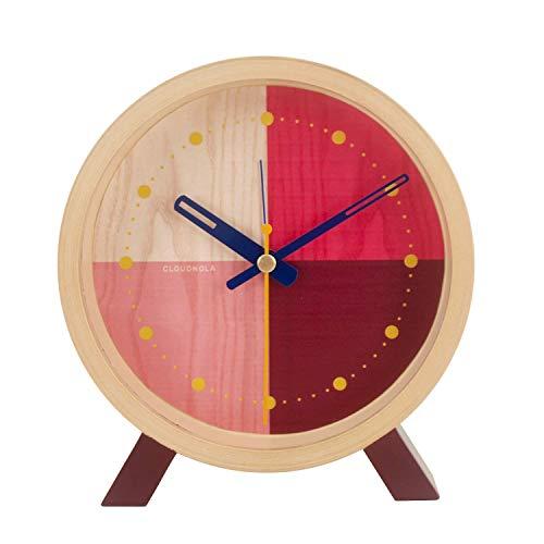 Cloudnola Flor Wecker und Standuhr aus Holz - Rot und Pink - Deko Wecker, 31 cm Durchmesser, Batteriebetriebenes Quarz Uhrwerk, Lautlos - Designer Tischuhr ohne Tickgeräusche