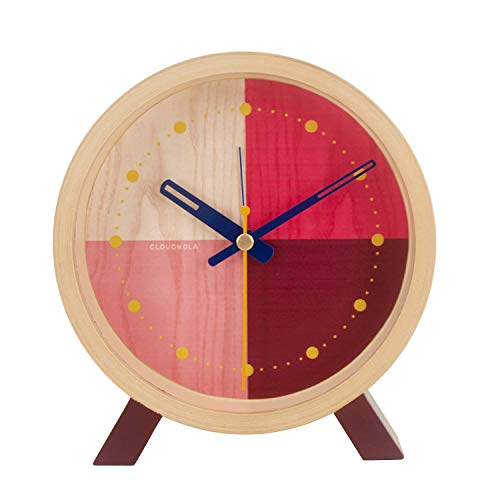 Cloudnola Flor Horloge sur Pied avec Fonction Réveil, Petite Horloge en Bois Naturel, Horloge Analogique Moderne Design avec Mouvement Quartz Silencieux, Pendule Ronde sans Chiffres, Rouge