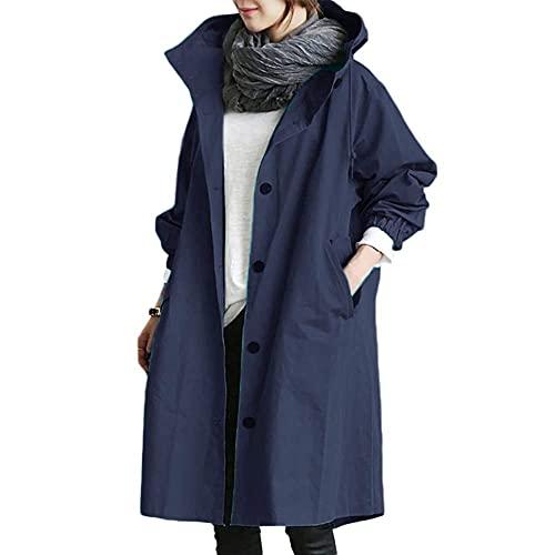 Godoboo Damen Frühling Herbst Mantel Wasserdicht Solide Windjacke Outdoor Jacken mit Kapuze Regenmantel Windjacke Regenmantel, Navy Blau, XL
