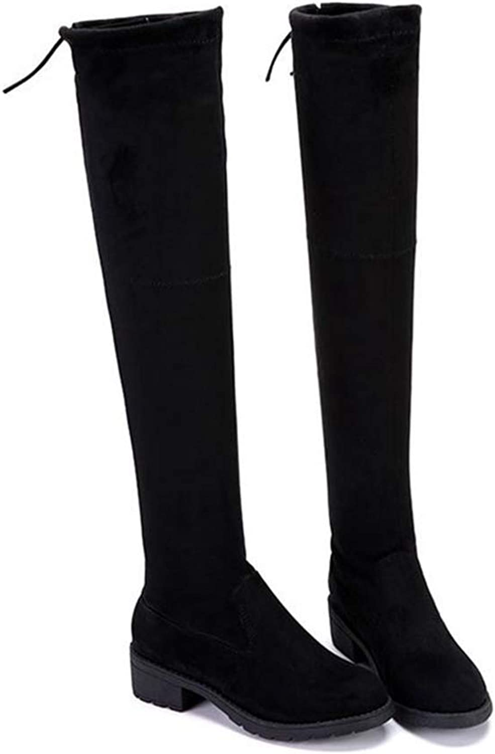 Knee High Boots Winter Fashion Style Stretch Long shoes Woman Elastic Boots Platform Square Heel shoes