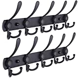 Dseap Coat Rack Wall Mounted - 5 Tri Hooks, Heavy Duty, Stainless Steel, Metal Coat Hook Rail for Coat Hat Towel Purse Robes Mudroom Bathroom Entryway (Black, 2 Packs)