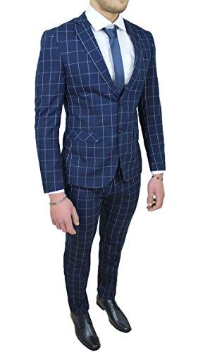 Abito Completo Uomo Sartoriale Blu Quadri Vestito Elegante Cerimonia (56)