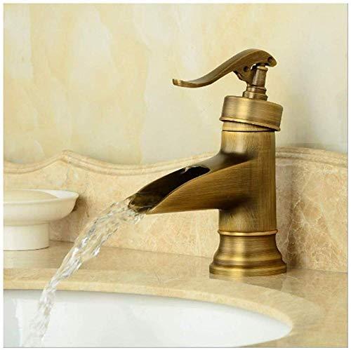 Grifo artístico retro de estilo europeo con cascada Jaladera de latón vintage Grifo de agua creativo Fregadero de lavabo 1 Manija de palanca Grifo mezclador de un solo caño para baño