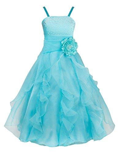 TiaoBug Blumenmädchen Festkleider Kleid Lang Brautjungfern Party Kleid Hochzeit Festlich Kleidung 92 104 116 128 140 152 164 Himmelblau 140