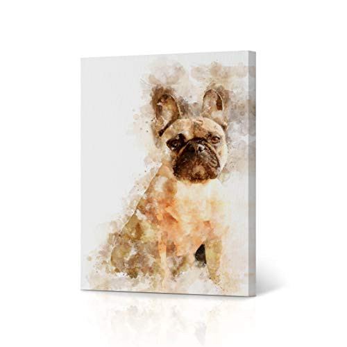 French Bulldog Canvas Print Watercolor Paint White Background Canvas Wall Art Animal Wall Art Home Decor Ready to Hang- Made in USA- 12x8 inches