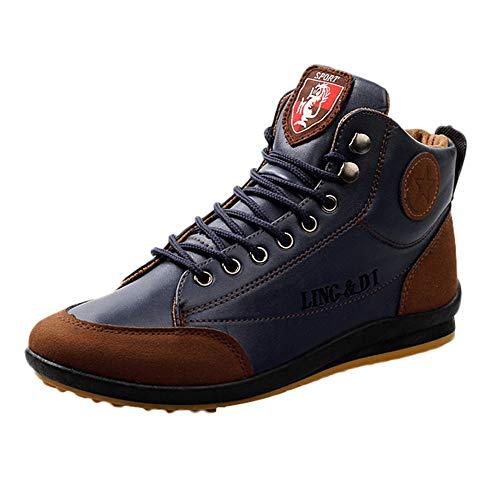 BaZhaHi Zapatillas de Hombre Botas de Cuero Zapatos Deportivos Casuales Estilo Vintage de Estilo británico Calzado de Hombre Calzado Alto Superior Calzado Casual para Hombre