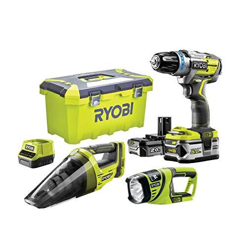 RYOBI 2-Gang 18V ONEPLUS Bürstenloser Schlagbohrschrauber - Handstaubsauger - Taschenlampe - 2 LithiumPlus-Batterien 5,