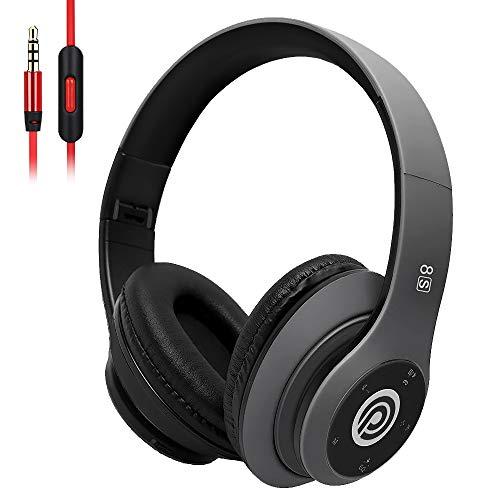 Bluetooth Kopfhörer Kabellose, HiFi Stereo Over Ear Kabellos Kopfhörer mit Mikrofon und Faltbares Wireless Headphone, Unterstützt die Micro SD/TF FM (für iPhone/Samsung/iPad/PC) (Grau)