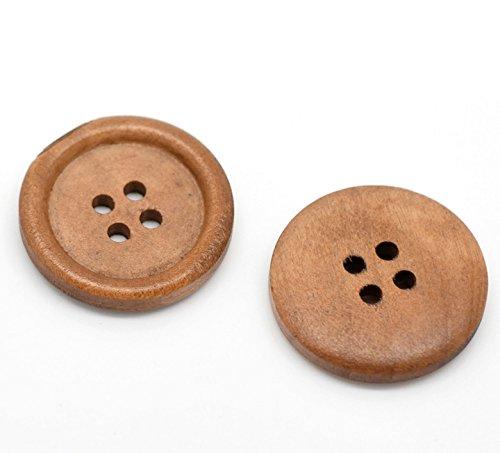 SiAura Material ® - 10x Runde Holzknöpfe, Hellbraun, 4 Löcher, 25 mm