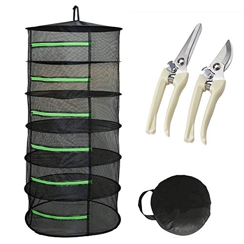 ZLRE Herb Plant Drying Rack Collapsible Mesh Net Dryer with Green Zippers and Garden Scissor for Hydroponic Plant Herb and Bud,6 Layer
