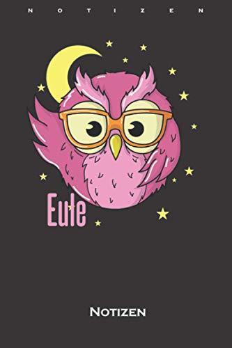 Schlaftyp Eule Brille Nachtaktiv Owl Morgenmuffel Notizbuch: Kariertes Notizbuch für Langschläfer oder Frühaufsteher