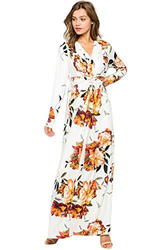XIANGCHEN Vestido largo de verano con cuello en V para mujer, estampado floral, para fiesta en la playa