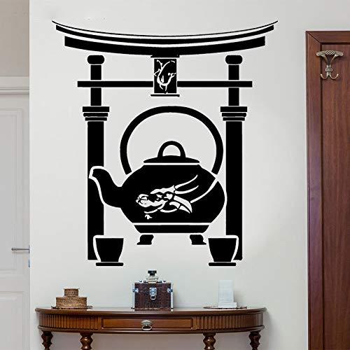 yaoxingfu Etiqueta de la Pared Japonesa Ceremonia del té Oriental Taza de Tetera Dragon Teahouse Vinyl Decal Decoración del hogar Fondo de Pantalla Sala de Estar WW-1 85x93cm
